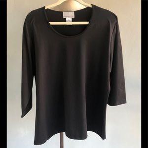 Basic Black 3/4 Sl Susan Graver Top